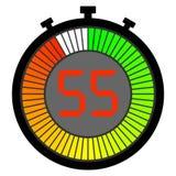 ηλεκτρονικό χρονόμετρο με διακόπτη με έναν πίνακα κλίσης που αρχίζει με πράσινα 55 δευτερόλεπτα ελεύθερη απεικόνιση δικαιώματος
