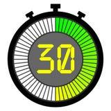 ηλεκτρονικό χρονόμετρο με διακόπτη με έναν πίνακα κλίσης που αρχίζει με πράσινο 30 δευτερόλεπτα ελεύθερη απεικόνιση δικαιώματος