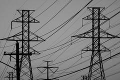 Ηλεκτροφόρα καλώδια στο Τέξας σε γραπτό στοκ εικόνα με δικαίωμα ελεύθερης χρήσης