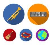 Ηλεκτρο όργανο, σάλπιγγα, ντέφι, κιθάρα σειράς Τα μουσικά όργανα καθορισμένα τα εικονίδια συλλογής στο επίπεδο διανυσματικό σύμβο ελεύθερη απεικόνιση δικαιώματος