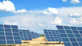 Ηλιακά πλαίσια στον τομέα στην καυτή ηλιόλουστη ημέρα με το μπλε ουρανό απόθεμα βίντεο