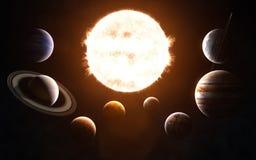 ηλιακό σύστημα Αφροδίτη μονοπατιών υδραργύρου γήινης εστίασης ψαλιδίσματος Όλοι οι πλανήτες μπροστά από τον ήλιο Αφηρημένη επιστη στοκ εικόνα