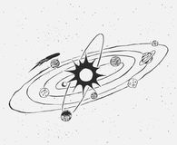 Ηλιακό σύστημα doodle απεικόνιση αποθεμάτων
