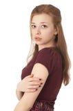 ηλικίας κορίτσι δεκαπέντε που φοβάται όμορφο στοκ φωτογραφία