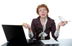 ηλικίας μέση γυναίκα υπολογιστών Στοκ εικόνα με δικαίωμα ελεύθερης χρήσης
