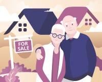 Ηλικίας πωλώντας σπίτι ζευγών διανυσματική απεικόνιση