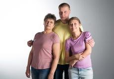 Ηλικιωμένη γυναίκα με τον ενήλικους γιο και την κόρη της στοκ φωτογραφίες