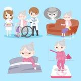 Ηλικιωμένη γυναίκα με το πρόβλημα υγείας ελεύθερη απεικόνιση δικαιώματος