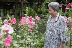 Ηλικιωμένη γυναίκα που στηρίζεται στον κήπο ηλικιωμένη θηλυκή χαλάρωση στο πάρκο Στοκ Εικόνες