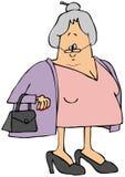 Ηλικιωμένη γυναίκα που φορά ένα πουλόβερ διανυσματική απεικόνιση