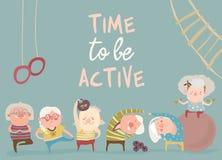 Ηλικιωμένοι άνθρωποι κινούμενων σχεδίων που κάνουν τις ασκήσεις διανυσματική απεικόνιση