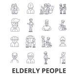 Ηλικιωμένοι άνθρωποι, προσοχή, ηλικιωμένο ζεύγος, ηλικιωμένος άνθρωπος, ηλικιωμένος ασθενής, εικονίδια γραμμών υποστήριξης Κτυπήμ διανυσματική απεικόνιση