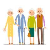 Ηλικιωμένοι ζεύγους Στάση δύο ηλικίας ανθρώπων Ηλικιωμένα άτομο και woma διανυσματική απεικόνιση