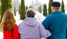 Ηλικιωμένο ζεύγος και νέο caregiver στοκ εικόνα
