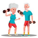 Ηλικιωμένο ζεύγος που κάνει τον αθλητισμό με το διάνυσμα αλτήρων μαζί απομονωμένη ωθώντας s κουμπιών γυναίκα έναρξης χεριών απεικ απεικόνιση αποθεμάτων