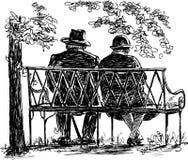 Ηλικιωμένο ζεύγος που στηρίζεται σε έναν πάγκο πάρκων Στοκ φωτογραφίες με δικαίωμα ελεύθερης χρήσης