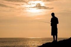 ηλιοβασίλεμα αλιείας Χ Στοκ φωτογραφία με δικαίωμα ελεύθερης χρήσης