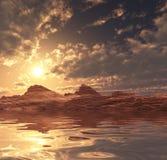 ηλιοβασίλεμα αμμόλοφων του Ντουμπάι ερήμων Στοκ Εικόνες