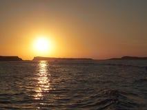 Ηλιοβασίλεμα από τη βάρκα Στοκ Εικόνες