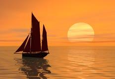 ηλιοβασίλεμα βαρκών διανυσματική απεικόνιση