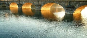 ηλιοβασίλεμα γεφυρών Στοκ Φωτογραφίες
