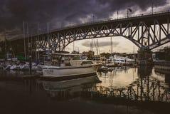 Ηλιοβασίλεμα γεφυρών Granville Στοκ εικόνα με δικαίωμα ελεύθερης χρήσης