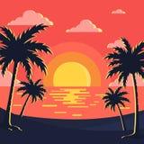 Ηλιοβασίλεμα/διανυσματική εικόνα υποβάθρου παραλιών διανυσματική απεικόνιση