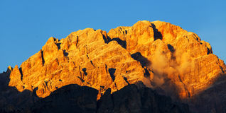 ηλιοβασίλεμα δολομιτώ&nu στοκ εικόνες