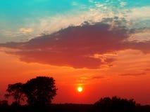 Ηλιοβασίλεμα επαρχίας του Ουισκόνσιν Στοκ Φωτογραφία