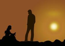 ηλιοβασίλεμα ζευγών απεικόνιση αποθεμάτων