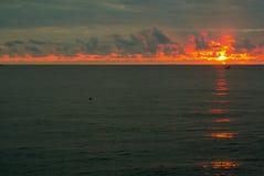 Ηλιοβασίλεμα θάλασσας σε Batumi στοκ εικόνα με δικαίωμα ελεύθερης χρήσης