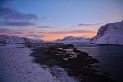 Ηλιοβασίλεμα Θαλασσών του Μπάρεντς στοκ εικόνες με δικαίωμα ελεύθερης χρήσης