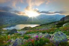 Ηλιοβασίλεμα θερινών βουνών στο εθνικό πάρκο Retezat Στοκ Εικόνα