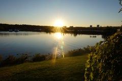 Ηλιοβασίλεμα κάτω από το νερό και την πράσινη χλόη Στοκ Εικόνα