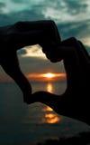 ηλιοβασίλεμα καρδιών Στοκ εικόνα με δικαίωμα ελεύθερης χρήσης