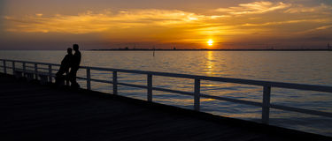 Ηλιοβασίλεμα κόλπων της Μελβούρνης Στοκ εικόνα με δικαίωμα ελεύθερης χρήσης