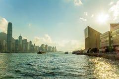 Ηλιοβασίλεμα λιμενικών Χονγκ Κονγκ Βικτώριας Στοκ εικόνες με δικαίωμα ελεύθερης χρήσης