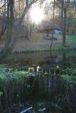 ηλιοβασίλεμα λιμνών κάτω στοκ φωτογραφίες