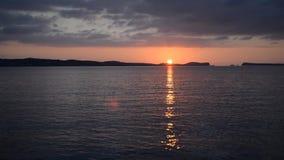 Ηλιοβασίλεμα Οκτώβριος του San Antonio Ibiza απόθεμα βίντεο