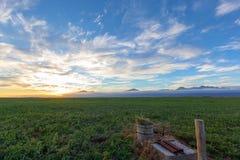 Ηλιοβασίλεμα πέρα από τα καλλιεργήσιμα εδάφη στοκ φωτογραφία