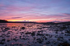 Ηλιοβασίλεμα πέρα από τα mudflats στο Μαίην Στοκ φωτογραφία με δικαίωμα ελεύθερης χρήσης