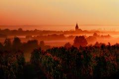 Ηλιοβασίλεμα πέρα από τους αμπελώνες στην κοιλάδα της Loire Στοκ Φωτογραφίες