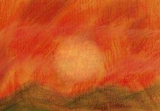 Ηλιοβασίλεμα πέρα από τους λόφους - μαλακή ζωγραφική κρητιδογραφιών ελεύθερη απεικόνιση δικαιώματος
