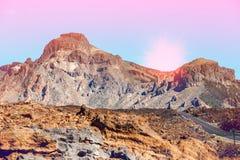 Ηλιοβασίλεμα πέρα από το ηφαίστειο Teide Tenerife, Ισπανία Στοκ φωτογραφία με δικαίωμα ελεύθερης χρήσης