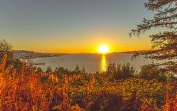 Ηλιοβασίλεμα πέρα από το Vigo - τη Γαλικία - την Ισπανία στοκ φωτογραφίες με δικαίωμα ελεύθερης χρήσης