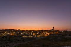Ηλιοβασίλεμα πέρα από $matera, Βασιλικάτα, Ιταλία στοκ εικόνα