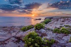 Ηλιοβασίλεμα πέρα από Quiberon Στοκ Εικόνες
