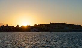 Ηλιοβασίλεμα πέρα από Rethymno Στοκ φωτογραφία με δικαίωμα ελεύθερης χρήσης