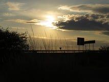 Ηλιοβασίλεμα πίσω από τα δέντρα με τα σύννεφα και έναν δρόμο στο πρώτο πλάνο στοκ εικόνα