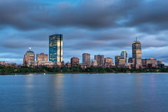 ηλιοβασίλεμα πανοράματος της Βοστώνης Στοκ Φωτογραφίες